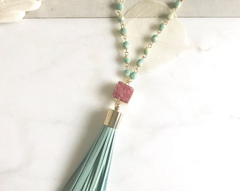 Tassel Necklace Druzy and Aqua. Leather Tassel.  Long Gold Tassel Necklace. Druzy Tassel Necklace.  Boho Style. Strand Necklace.