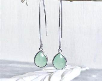 Sweet Mint Drop Earrings in Silver Bridesmaid. Gift. Wedding. Drop Earrings. Jewelry. Simple Earrings. Gift. Dangle Wedding Jewelry. Bridal