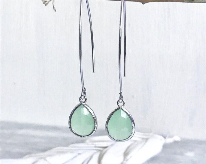 Sweet Mint Drop Earrings in Silver Bridesmaid. Gift. Wedding. Drop Earrings. Jewelry. Simple Earrings. Gift. Dangle Wedding Jewelry. Bridal
