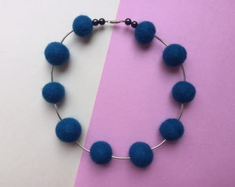 SALE, Felt ball necklace, silver bead necklace, blue felt necklace, felt jewellery, quirky jewellery, chunky necklace, blue necklace