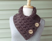 Closing SALE (RTS) / TRACY Chunky Button Cowl, Small Button Cowl - Coffee Brown