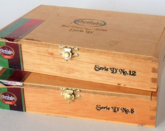 2 Ortega Wooden Cigar Boxes Serie D No. 3 & No. 12