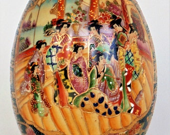 Large Satsuma Porcelain Hand Painted Egg Embossed Moriage Gold Accents & Beading Made In China Pre-WWII PRISTINE