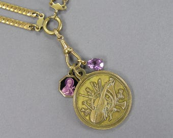 Antique Music Medal, Watch Chain Necklace, 1877, Violin, Liege, Belgium, Amethyst Enamel, Faceted Tear Drop, Assemblage
