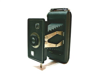 1940s Kodak Jiffy Camera Series II - Collapsible Folding Bellows - Twindar Lens - Black Leatherette with Handle