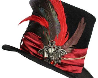 Tall Black Top Hat Gothic Elegance Steampunk Victorian Gentlemens Dapper Cosplay Mens Red