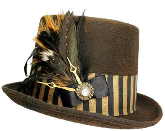 Brown Wool Top Hat Steampunk Burlesque Gothic Victorian Gentlemens Mens Womens