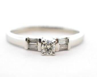 Platinum .10ct RBC and Baguette Diamond Engagement Ring-Size 7