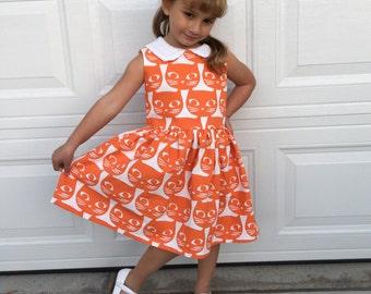 Orange Kitty Dress - Mini Pinup Girls Dress ... 9 Prints Available ... Disneybound, Rockabilly Kid, Family Photos, Birthday Dress