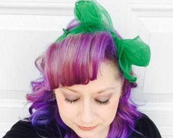 Green Rockabilly Hair Scarf - 13 Colors Available - 6 each or 3 for 15 - Vintage Chiffon Scarf