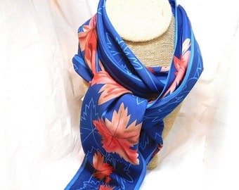 ON SALE VERA Vintage Scarf Royal blue with Orange Leaves Designer Fashion Narrow Beauty!