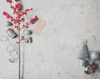 Styled Desktop, Vintage Christmas Stock Photo, Marble Table, Christmas Mockup, Social Media Photo, Instagram Photo, Styled Stock Photography