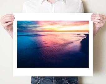 Ocean seascape photograph, beach landscape photography print. Florida sunset art, blue coastal decor. Small prints, large oversized artwork