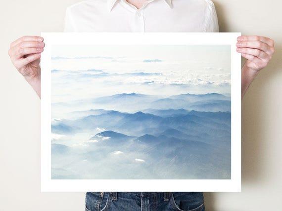 Mountains photography print. Blue misty Japanese landscape photograph, Japan Asian decor, Honshu artwork. Fine art photo, large format print