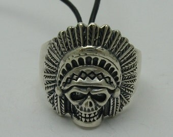 Sterling silver biker pendant solid 925 indian skull ring