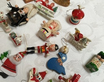 Vintage Wooden Christmas Ornaments set of 14
