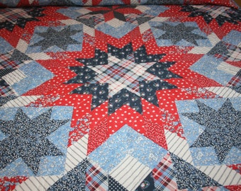 Vintage Retro Queen/Full Bedspread Red Blue White Calico Star Quilt Look and Two Blue Floral Vintage Pillowcases