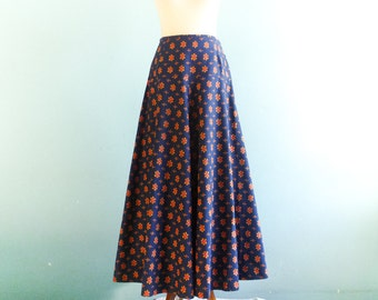 Vintage 70s Skirt Floral / Navy Blue Orange / Hippie Boho / Maxi Long / Dereta London / small medium
