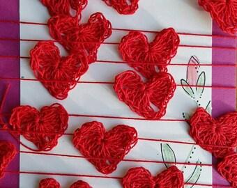 Delicate Crochet Heart Garland, Christmas Red,  shabby chic home decor, handmade garland, christmas tree, 32 hearts, handmade