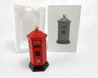 Vintage Dept. 56 English Post Box new old stock miniature metal mail box Dept 56 Code # 5805-0 English Mail Box red metal box hand painted