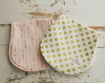 Baby Burp Cloth 2 Pack, Light Pink, Gold, Arrow, Dots,