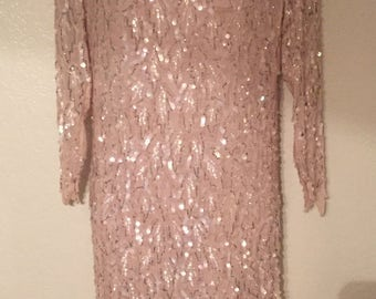 Sensational Light Pink Beaded Sequins Vintage Dress