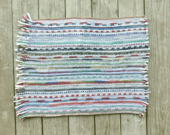 Rag Rug Vintage Small Multicolored White Pastel Fringe Throw Rug 1970s
