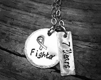 Cancer Fighter & Survivor Necklace, sterling silver or nickel silver.