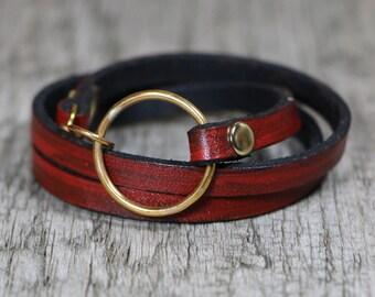 Leather Bracelet-Triple Wrap Bracelet-Red and Black Bracelet-Valentines Day-Christmas-Real Leather Bracelet-Wrap Bracelet-Red Bracelet-