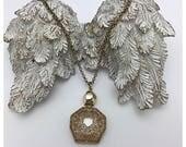 Vintage Perfume Bottle Necklace gilded gold glass bottle necklace
