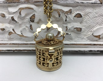 Vintage Box Necklace hinged box pendant with pearl accent