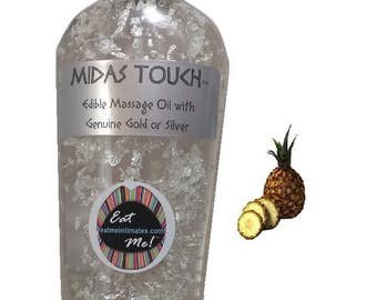 Midas Touch™ Edible Gold & Silver Massage Oil - Pineapple Natural Vegan, water based, 24k Gold 999 Silver