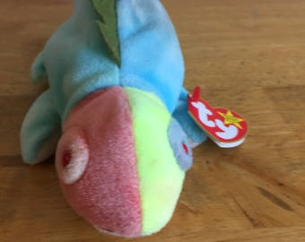 Ty beanie baby rainbow with iggy tag and hang tag vintage