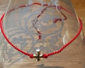 Cherished Saints Red Silk - Red Thread with Sterling Cross - Good Karma - Spirituality - Friendship Bracelet