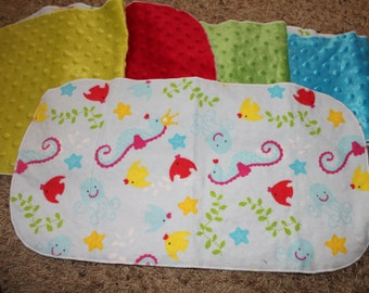 Under the Sea Burp Cloth with Minky Seahorse Fish Octopus Starfish Kelp