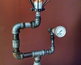 Repurposed.. Upcycled... Steampunk Industrial Vintage Accent Lighting....Lamp...One of a Kind....Awesome Gift Idea....Think Christmas...