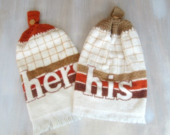 1970s His Hers Matching Towels Brown Rust Knitted Terrycloth Couples Kitchen Dishcloth Bathroom Hand Towel