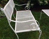White Iron and metal mesh Garden Settee Bench