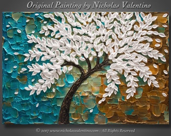 "Large 24""x36""x1.5"" Original Abstract Blossom Tree Painting  Palette Knife Impasto Textured Gallery Stretched Canvas Ready to Hang - FREE S&H"