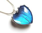 Valentine Heart Blue Butterfly Wing Heart Pendant, Morpho