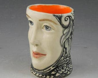 Face mug black and white with orange interior OOAK porcelain hand painted cup