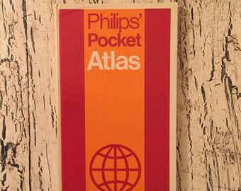Vintage 1971 Philips' Pocket Atlas - Small Size - Great Retro Cover