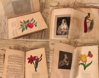 Christian Family Magazine from 1842 - Beautiful Color Plates and Rustic, Antiqued, Aged Pages.
