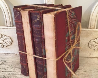 Antique Leather Book Stack - Rustic Home Decor - Marbled Covers