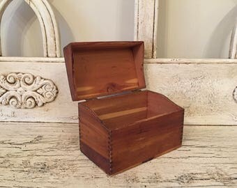 Rustic Recipe box - Small Hinged Wooden Box - Index Card Box