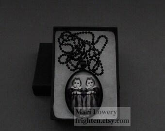 Gothic Pendant, Creepy Twins, Dark Jewelry, Halloween Necklace, Twin Sister Jewelry