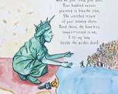 All are Welcome, Lady liberty welcomes the refugees, Print, Love Trumps Hate