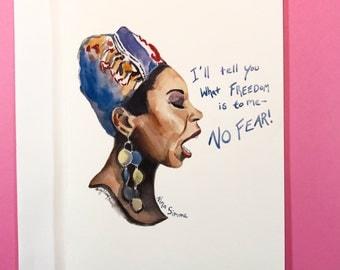 Nina Simone, 5x7 card, Ready to Ship