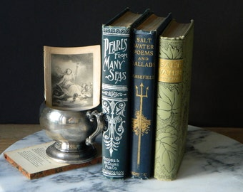 Antique Nautical Book Collection. Cottage Decor. Beach House. Instant Library. Poetry.
