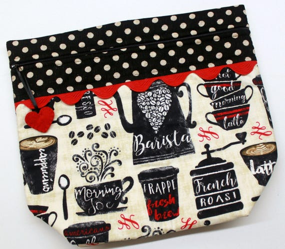 Big Bottom Barista Coffee Cross Stitch, Embroidery Project Bag
